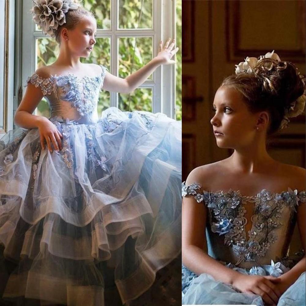 Sky Blue Flower Chicas Vestidos 2021 Fuera de los hombros Hombro Hecho A Mano Abalorios Falda De Tul Falda Falda Correas Pageant Fiesta De Cumpleaños Vestido De Bola