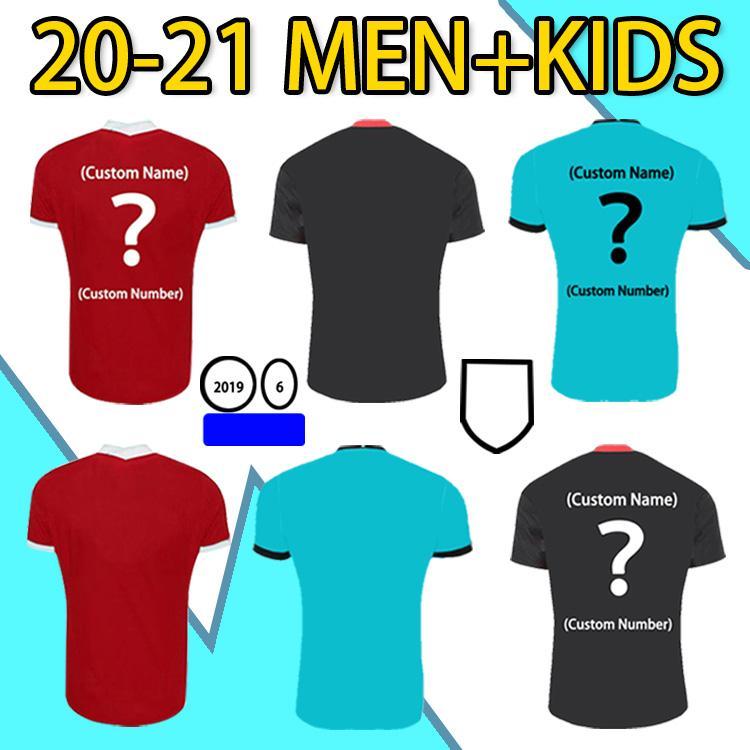 20 21 Top Quality Fans Versão Home Away Jersey Virgil Firmino Mané M. Salah Henderson Robertson Man + Kids Manga Curta Esportes Camisa