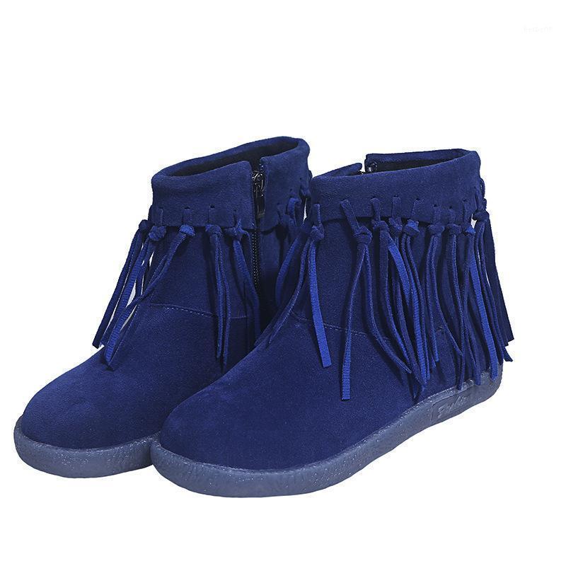 2020 Herbst- und Winterstiefel frauen lässig bequeme flache boden neue frauen quaste niedrig geschnitten kurze boots plus size1