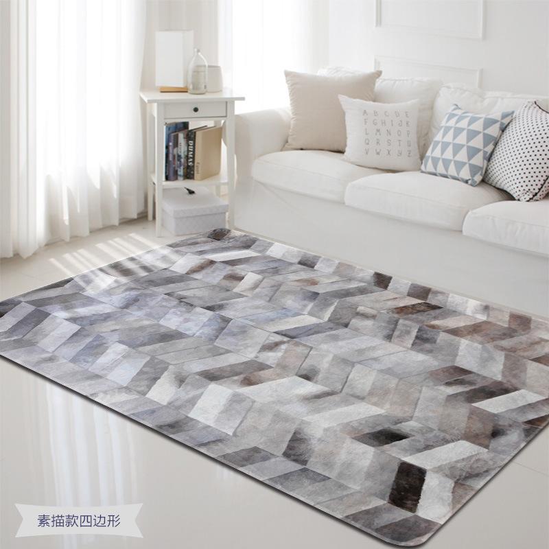 Nordic Simplement esquisse Tapis Soft Flanel Tapis imprimé géométrique Tapis antidérapant Épaissir Grand tapis pour la décoration du salon