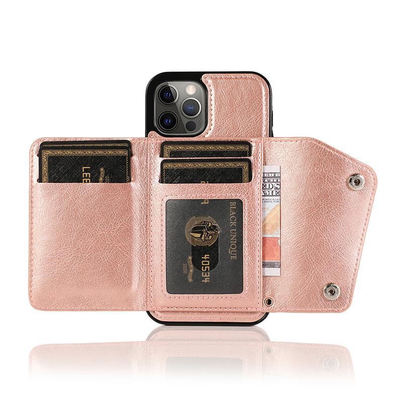Funda telefónica de la tarjeta de la cartera para iPhone12Pro 11 7 8Plus XR XS Max Funda de cuero de lujo para Samsung Note20 S20 Note10 Plus