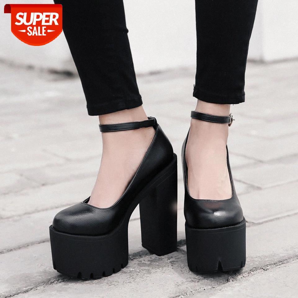 Ribetrini Femelle Chaussures de bracelet à cheville Chaussures de mode Solid Platform Spring Femmes Pompes Noir Cosplay Pompes # HT7J