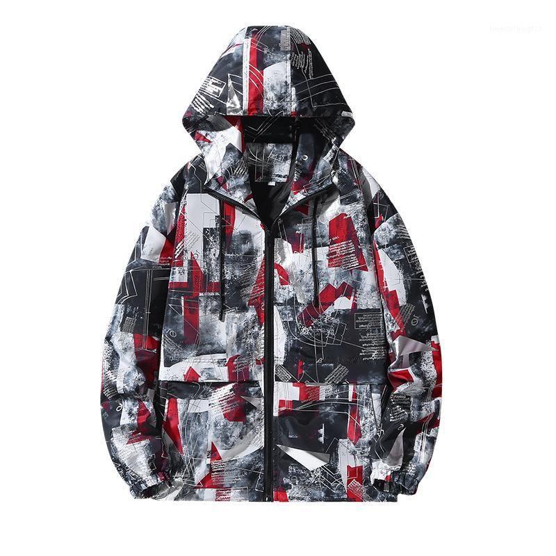 Мужские куртки плюс размер M-8xL мужской бомбардировщик куртка тренд камуфляж капюшон повседневная молния хип-хоп уличная печать пара мужчин пальто; GA5