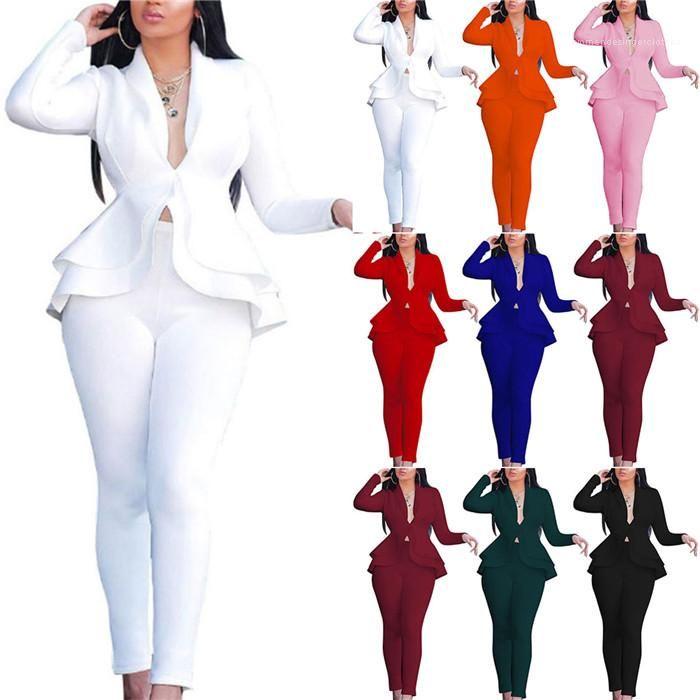 Setzt Massivfarbe Zweiteiler Outfit Kleidung Rüschen-Blazer-Mäntel und Bleistift-Hosen für Frauen Damen-Business Uniform