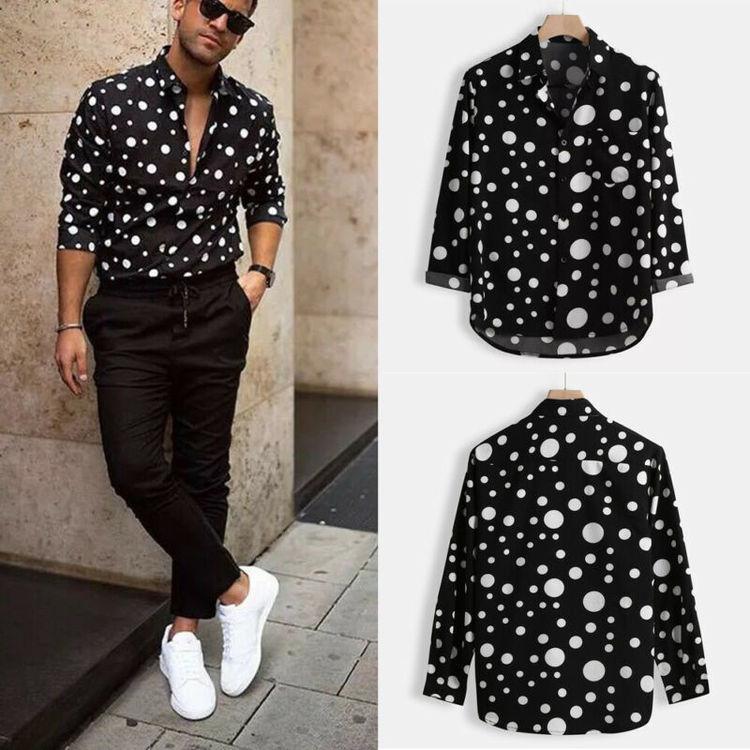 Fashion Men's Polka Dot Shirt Button Down Slim Fit Long Sleeve Holiday Casual Shirts Tops