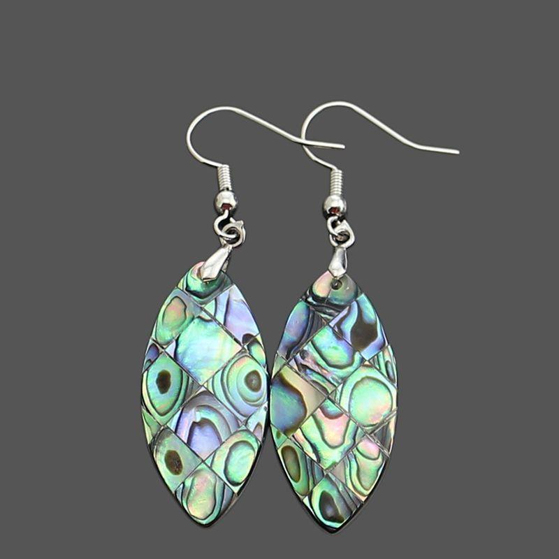 Neuseeland natürlicher abalone shell mode charme baumel ohrring abalones muscheln fragmente spleißen oval haken typ frauen ohrringe reiki heilende schmuck