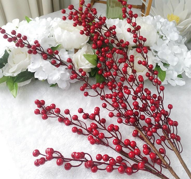 Simulation 3 Gabel Rote Beeren Glück Glücksfrucht Künstliche Pflanze Requisiten Home Wohnzimmer Dekorative Blumen 90 cm 55 cm