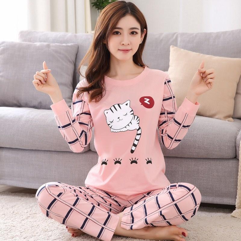 Frete grátis pijama conjuntos de manga longa mulheres sleepwear outono e inverno caixa de algodão pijama mujer mulheres casas de casa por atacado 201113