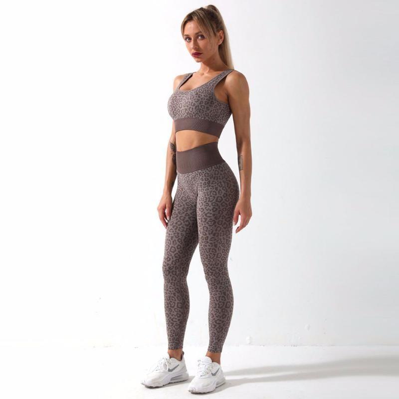Costume sans soudure Femmes Yoga Set 2 Pièce Fitness Leopard Sport Leggings et Top Push-up Soutien-gorge Haute Taille Haute Gymnase Sport Sport