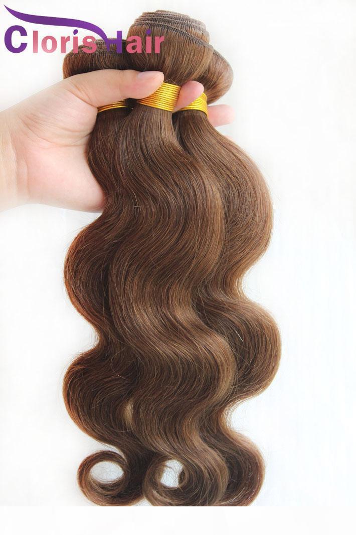 Gümrükleme Satış 3 Parça Vücut Dalga Malezya İnsan Saç Dokuma Demetleri # 4 Koyu Kahverengi Samanyolu Weeft Ucuz Vücut Çöp Kutusu Saç Uzantıları