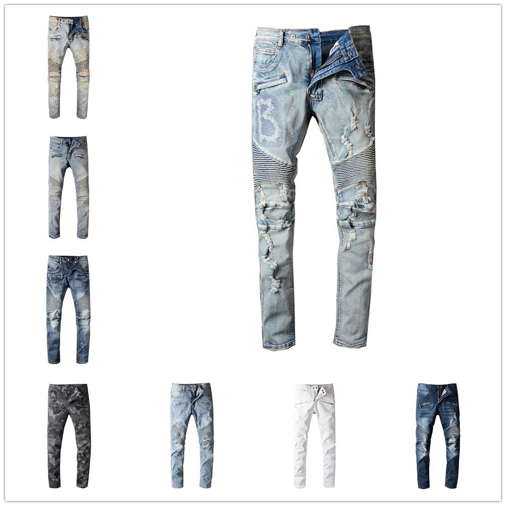 Fashion- Mens Designer Jeans Angustiado Ripped Biker Slim Fit Motorcycle Denim para hombres S Hombre Mans Pantalones negros