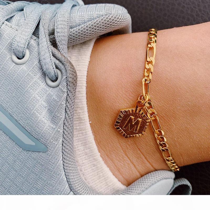 Personalisiertes Sechseck-Alphabet-Beinarmbänder für Frauen Fußschmuck Edelstahl Füße Kette Freundschaftsgeschenke Anfängliche Fußkette
