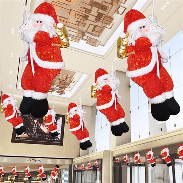 Eco-Friendly 35 cm Peluche decoraciones navideñas Santa Claus Muñeca Cuerda de escalada Ornamentos para la ventana Comercial Mall Fiesta de Año Nuevo DIY