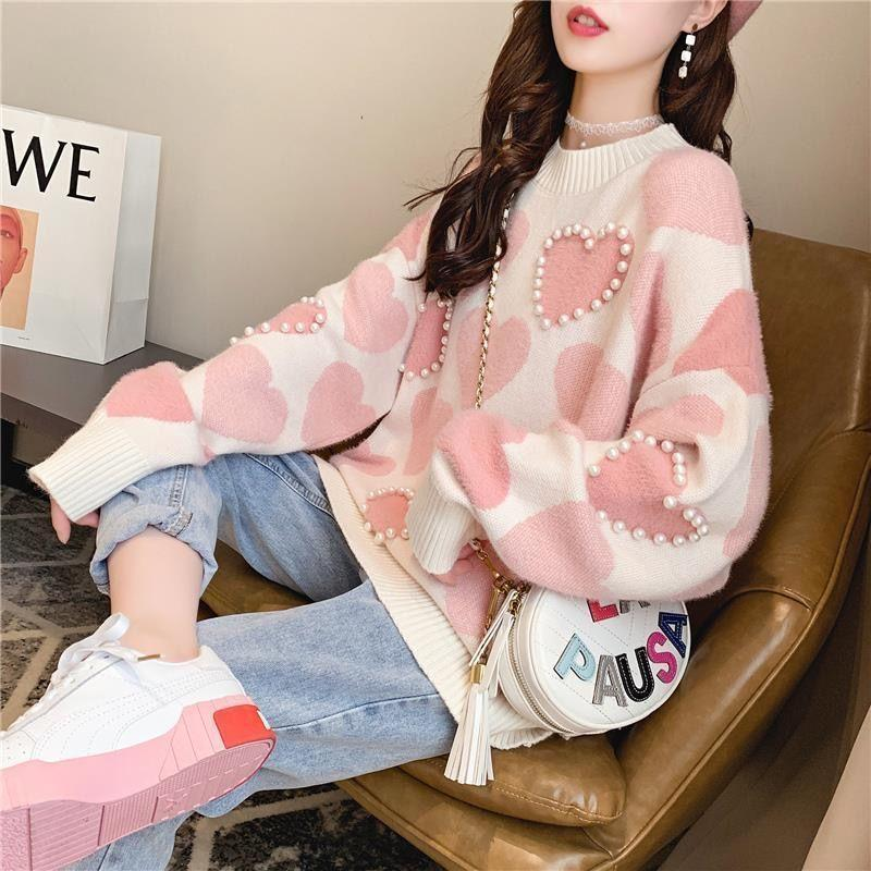 New Winter Christmas Sweaters Women Korean Style Pearl Heart-shaped Sweater Knitted Pullover Long Sweater Top Clothes Women