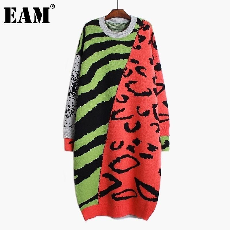 [EAM] Donne Leopard Big Size Abito da lavoro a maglia lunghe Nuovo Neck Round Neck Manica Lunga Adatta Adatta Moda Moda Autunno Inverno 1DA784 201027