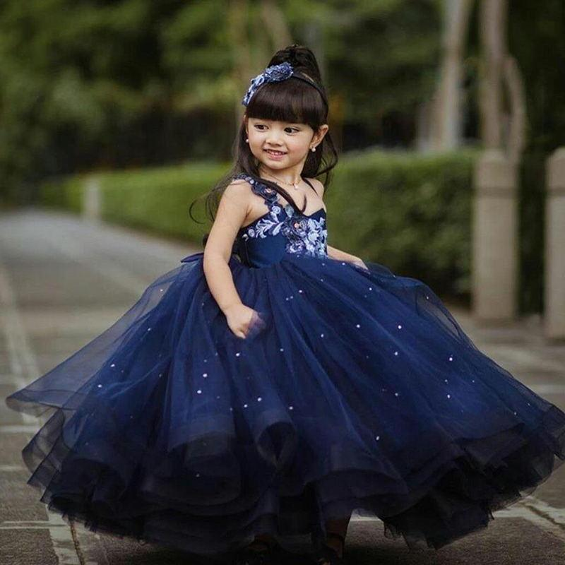 2021 Navy Flower Girl Dresses For Wedding Beaded Appliques Ball Toddler Pageant Gowns Tulle Cute First Communion Dress