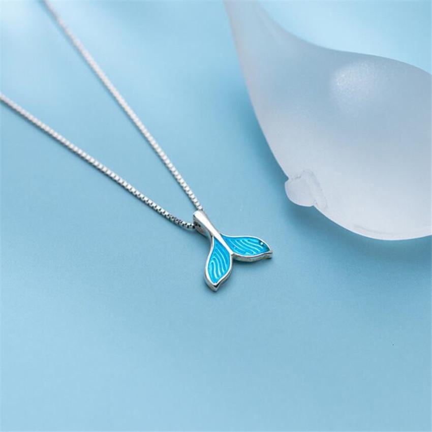Стиль Новый Корейский темперамент Mori Mermaid Мода Мода Стерлингового Серебра 925 Стерлинговые Серебряные Ювелирные Изделия Синий Рыбный Хвост Личности Ожерелья H449 ASRH