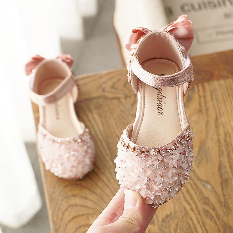 Niñas de verano Princesa Sandalias para zapatos de Bling Bebé Niños Zapatos casuales Lentejuelas Zapatos de cuero Zapatos Niños antideslizantes Sandalias de baile Q1214