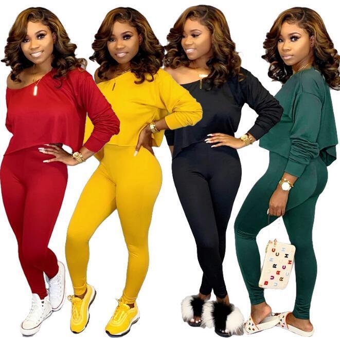 Bayan 2 adet Eşofman Setleri Bayanlar Katı Aktif Spor Loungewear Uzun Kollu Kazak Gevşek Mahsul Tops + Uzun Pantolon