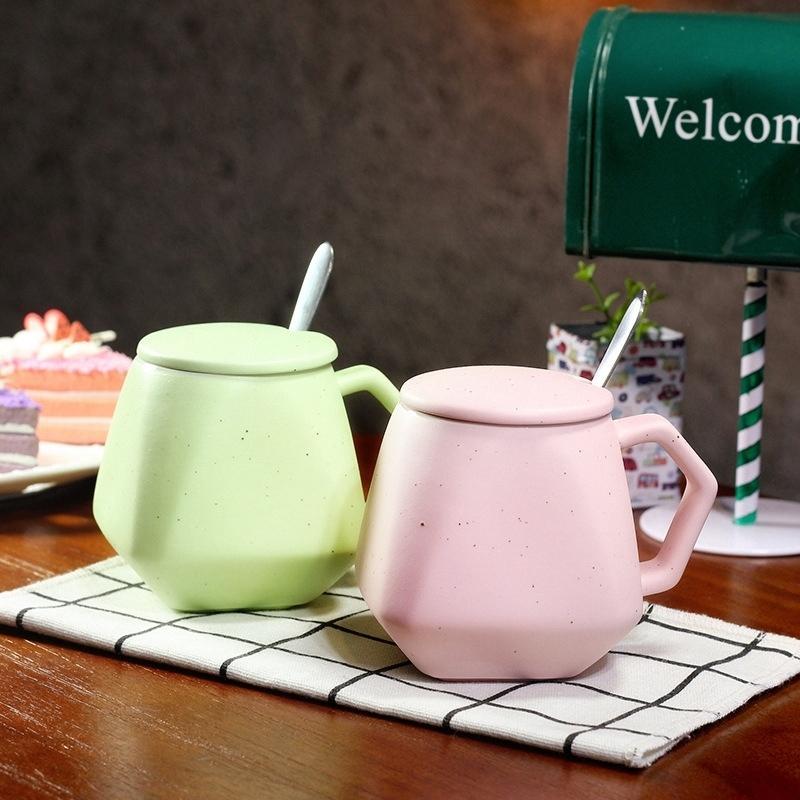 Creative Geometric Coffee Mug Ceramic Personalized Milk Tea Cup Unique Polygon Simple Polk Dot Breakfast Cupthermo mug With Lid T200506