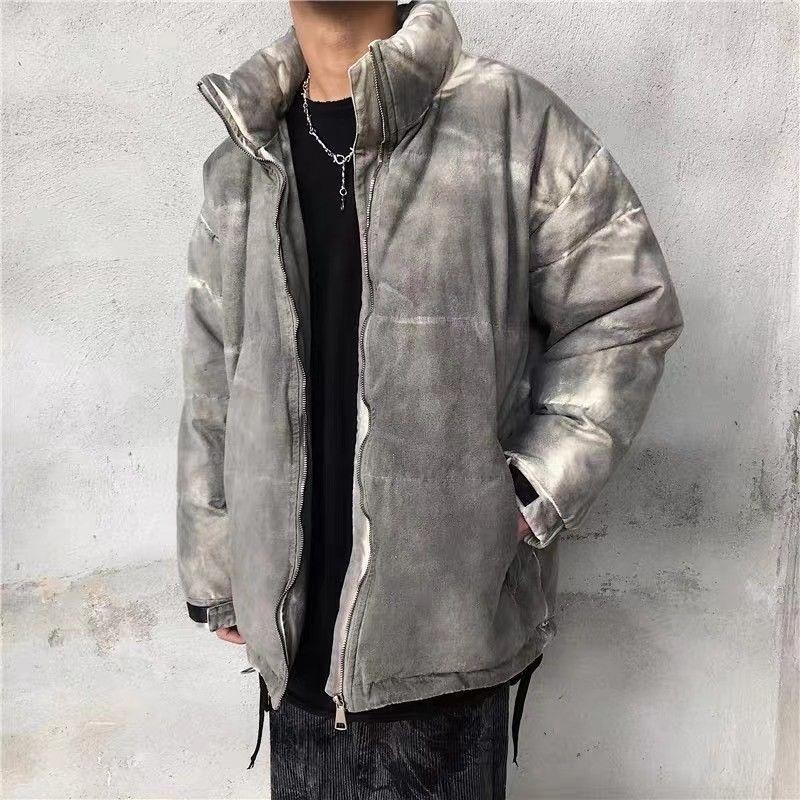 Yüksek Sokak Tie-Boya Degrade Gevşek Kış Ceket Erkekler Ve Kadınlar Yıkanmış Retro Kalın Sıcak Pamuk Yastıklı Ceket Boy Yaka Giysi