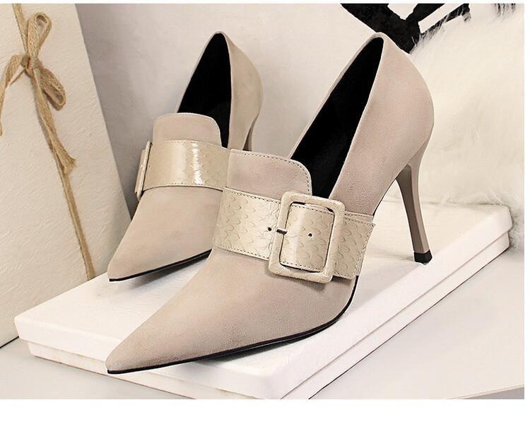 2021 Nouvelle arrivée Femmes Femmes Mode Talons minces Robes Chaussures Bureau Lady Sexy High High Heel Pompes Filles Casual Dîner en plein air Partie 40 9 # P64