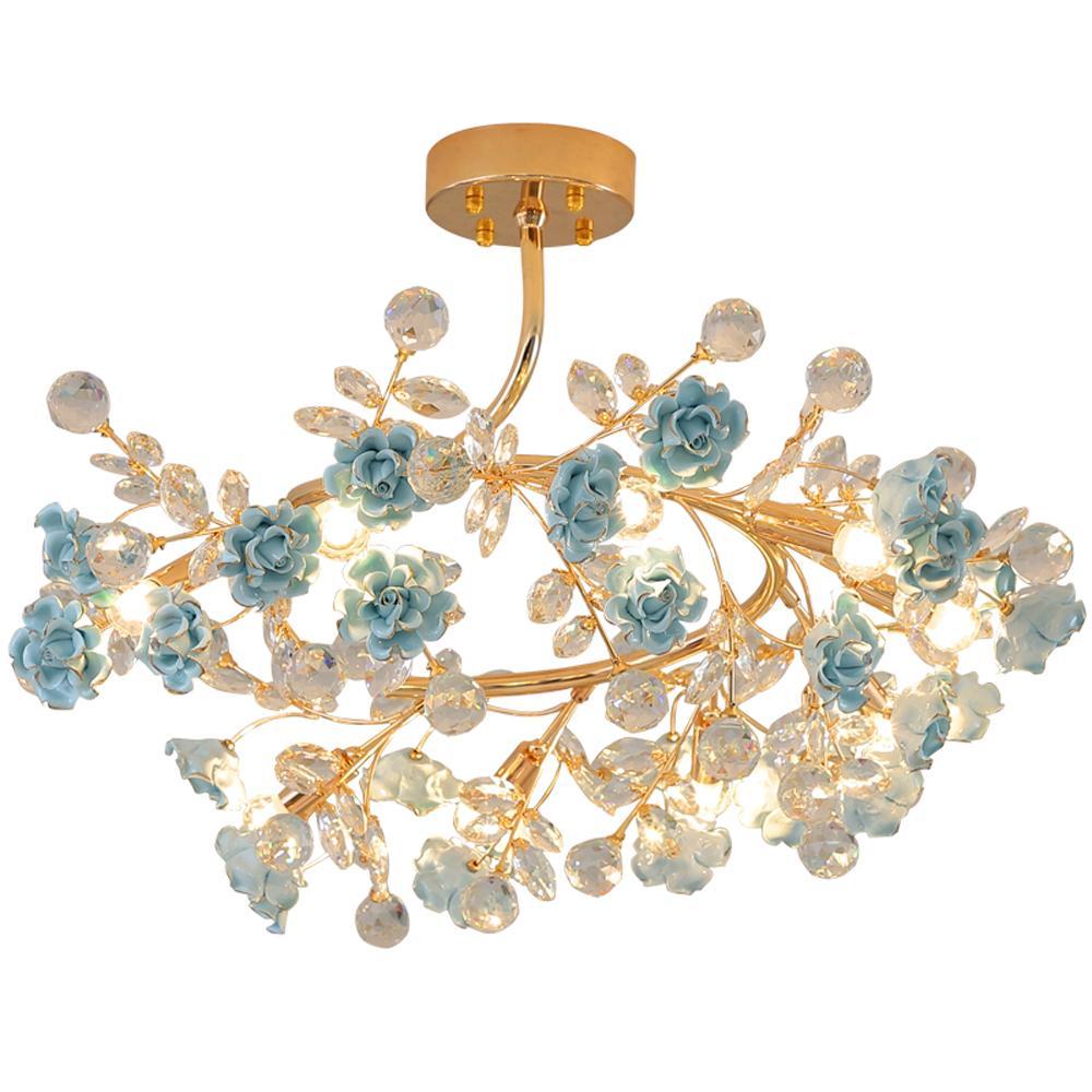 Avrupa oturma odası kristal avize aydınlatma modern kristal avize lüks yemek odası yatak odası aydınlatma seramik kristal kolye lambalar