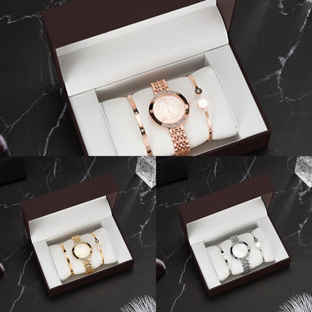 Top designer 3 mulheres pulseira incluem 2 pulseira / 1 relógios / 1 pcs relógio caixa grande conjunto de presente para namorada quente J1205