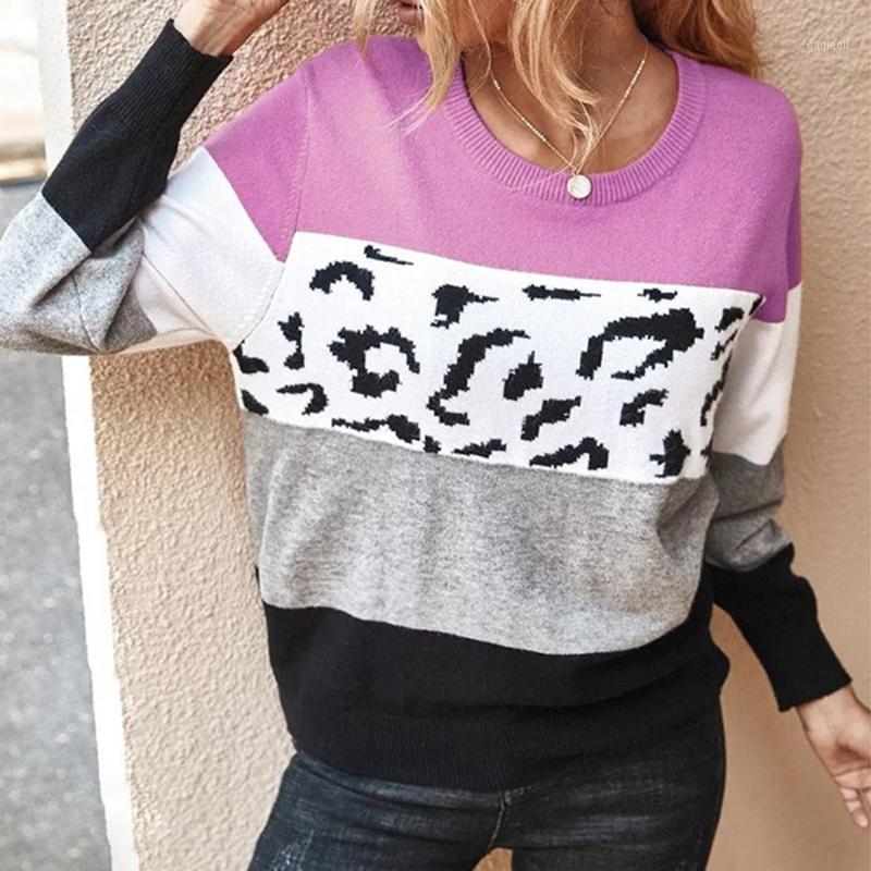 Outfits Yoga 2021 женский свитер одежда Одежда осенью и зимняя верхняя одежда с длинным рукавом леопардовый сшивание свободно для женщин1
