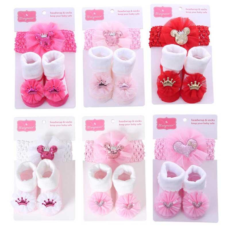 Wholesale Baby socks Hair Band set Stuff Solid Color Lace Princess Cute Bowknot Sock Photo Props