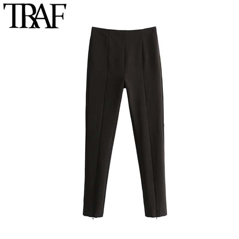 TRAF mujeres vintage elegante oficina ropa alta cintura pantalones flacos con cremallera lateral cremallera hembra tobillo pantalones mujer lj201130
