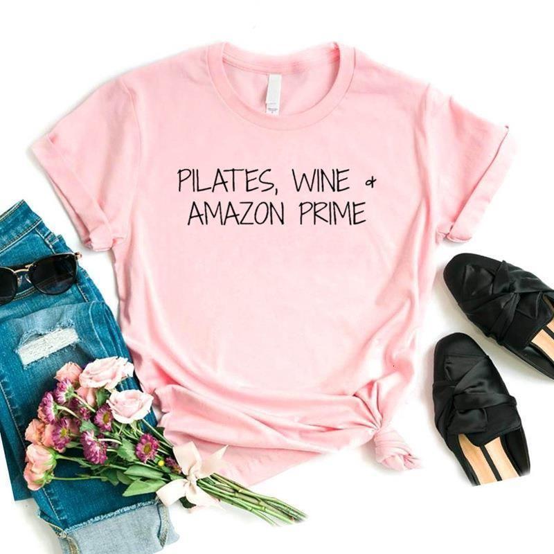 Женщины футболка пилатес винные буквы печати женские с коротким рукавом o шея свободная футболка дама причинно-тройник одежда