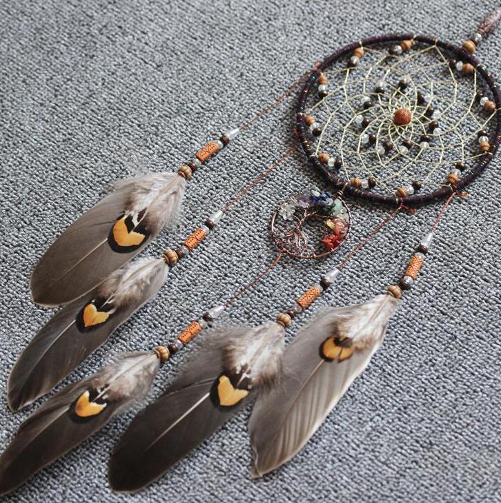 수제 Dreamcatcher 바람 차임 깃털이있는 깃털과 수제 노르딕 드림 포수 그물 Dreamcatcher Craft 선물 홈 인테리어 FWF3359