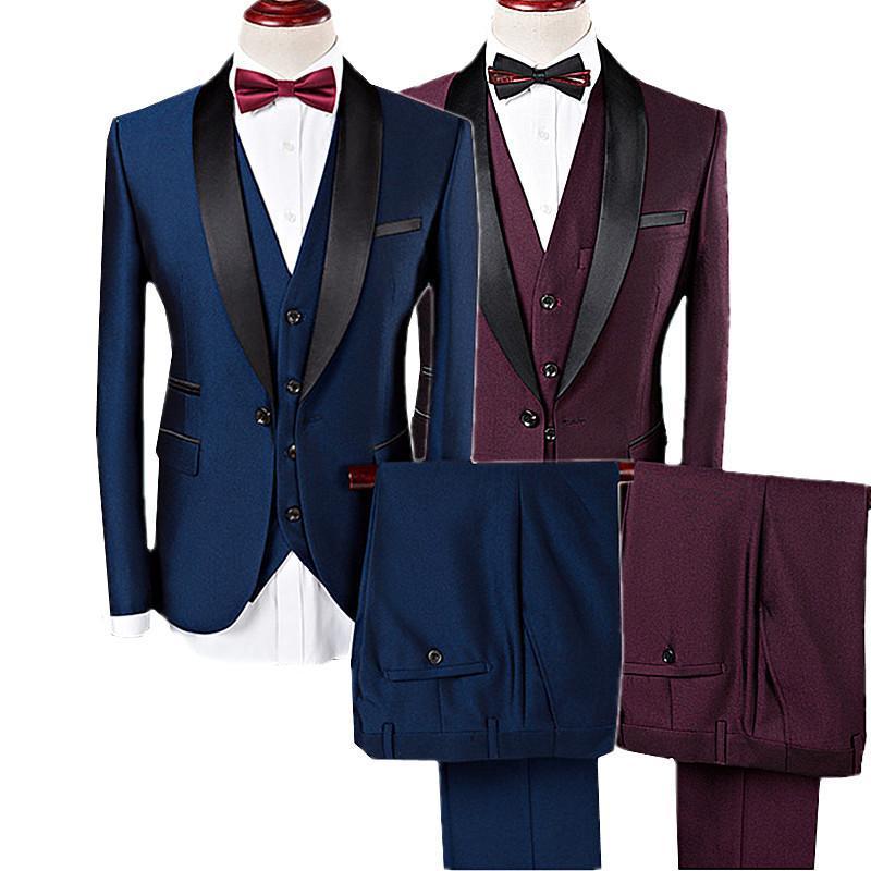 Trajes para hombres Blazers Hombre de alta calidad Traje de 3 piezas Set Blue Wine Red Business Bodan Banquete Macho Manga larga Blazer y chaleco Pantalones