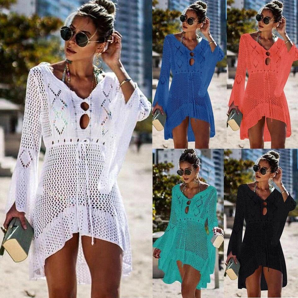 2019 Marka Yeni Yaz Kadın Mayo Dantel Tığ Bikini Kapak Up Mayo Seksi Plaj Elbise Tatil Hirigin # Uy0n
