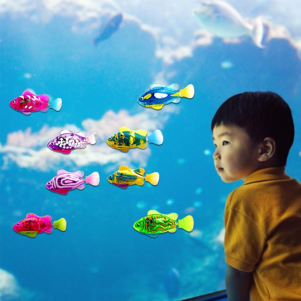 4 Sets Electric Fish Baby Bath Toy Matic Induction Robot Fish Flash Transparent Fish Swimming Magic Bath Doll wmtzML