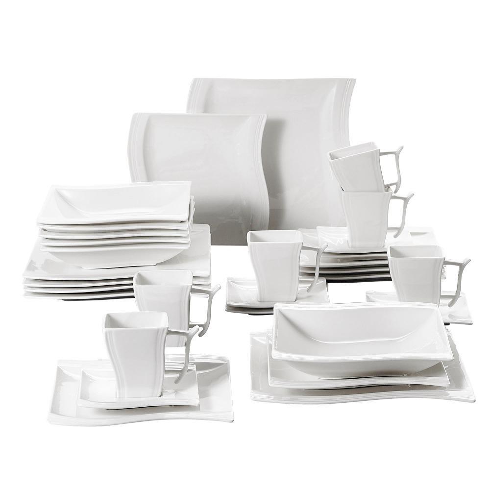 Malacasa Flora 30 pièces Porcelaine blanche Dîner dîner avec 6 * tasses, soucoupes, soupe de dessert Soup diner plaques Set Service 6 Personne Z1123
