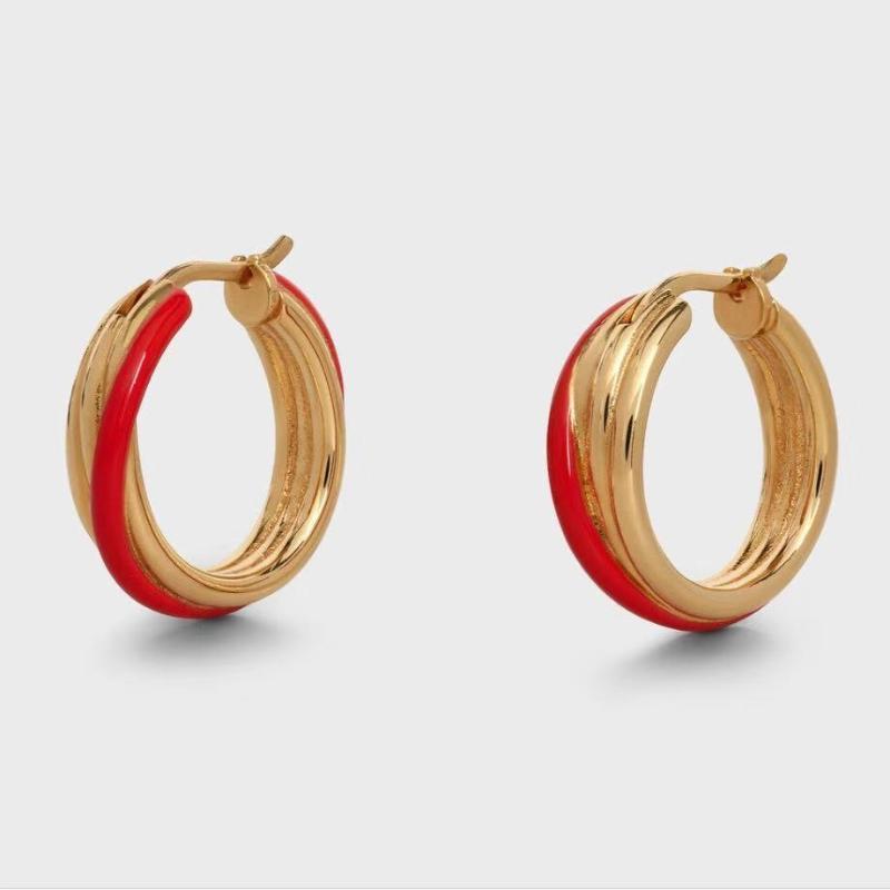 Pendientes de aro de oro de esmalte para mujeres rojo azul blanco amapola de latón moda pendientes de moda 2020