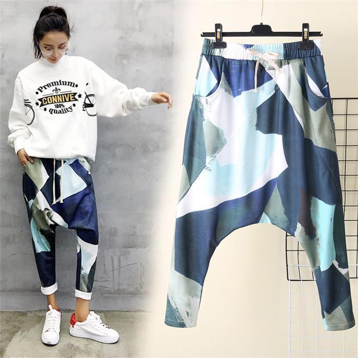 Baggy Büyük Kasık Rahat Pantolon Kadın Kamuflaj Baskı Harem Pantolon Gevşek Büyük Boy Kırpılmış Pantolon Drop Shipping