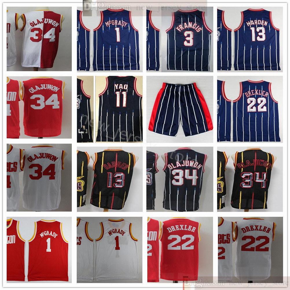 Retro Basketbol James 13 Harden Formalar Dikişli Vintage Hakeem 34 Olajuwon Tracy Steve 1 McGrady 3 Francis Yao Clyde 11 Ming 22 Drexler