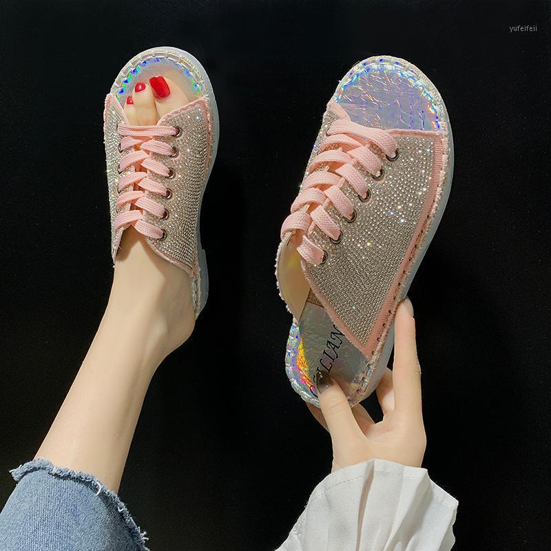 Twinkle Crystal Toile Femmes Sandales Femmes Sandales tricotées Solle Sold Sole Pantoufles Candy Open Toe Espadrilles Sandalias 20201