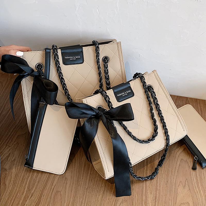 Fashion Lattice Square Tote Shoulder 2020 New High Quality Pu Leather Women's Designer Handbag Chain Crossbody Bag Q1206