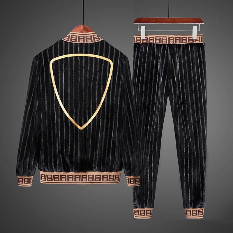 2021 Herren Designer Trainingsanzug Männer Lässige Business männer Schwarz Anzug Mode 2 stücke Männer Outdoor Jogging Sportswear Anzüge M-4XL