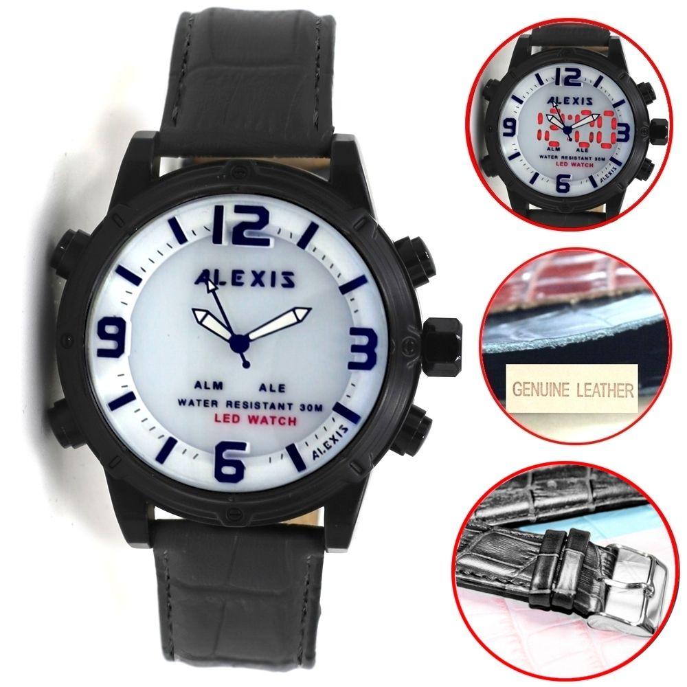 Alexis Marke Black Watchcase LED Hintergrundbeleuchtung Wasser Resist Analoge Digitaluhr Herrenuhren Montre Homme Horloge Mannen