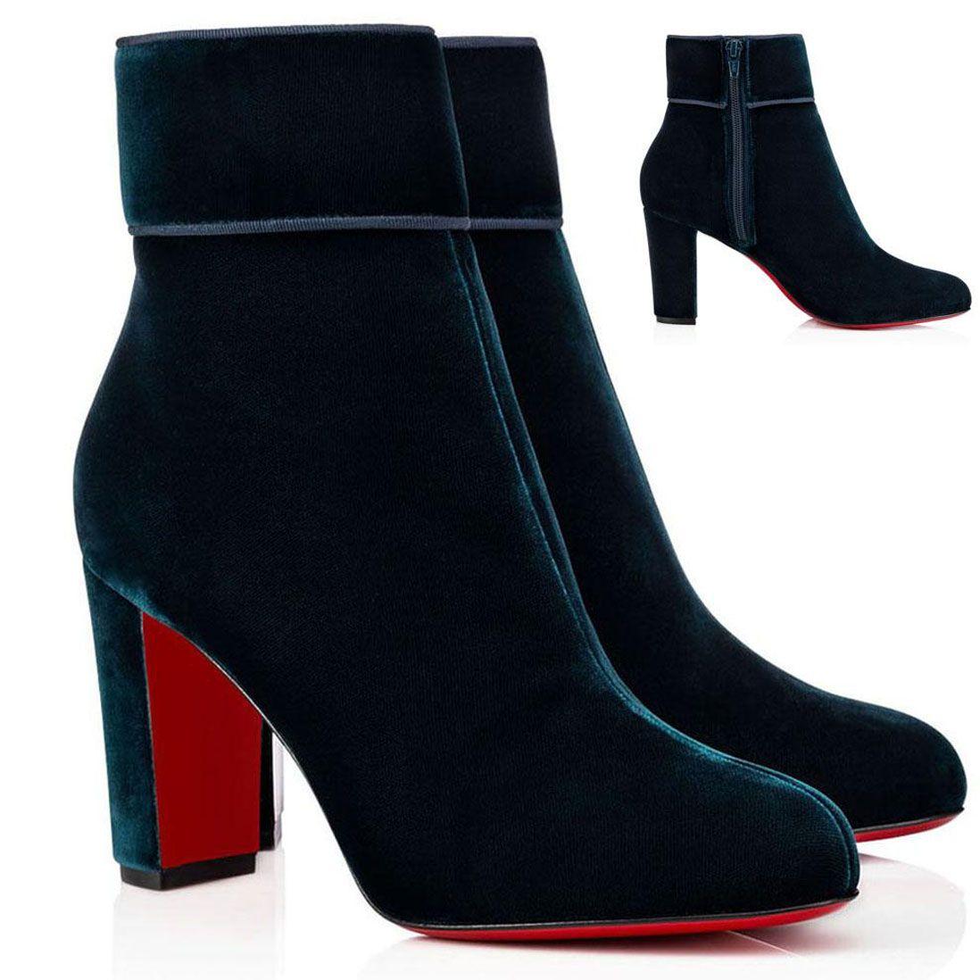 Top Designers Heels Chunky Feminino Bottom Bottom Botas de tornozelo espólio Preto Camurça de couro vermelho sola botas de couro genuíno com caixa