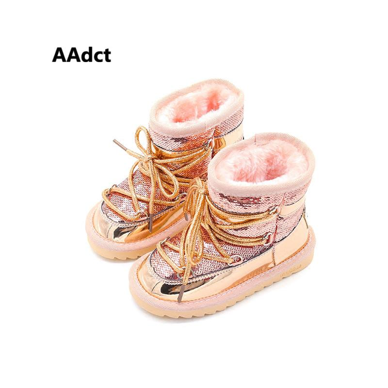 AAdct pelliccia inverno caldo ragazze Scarpe bambini della principessa di modo nuovo neve stivali per le ragazze Paillettes scarpe per bambini cotone Marca 2019 Y1116