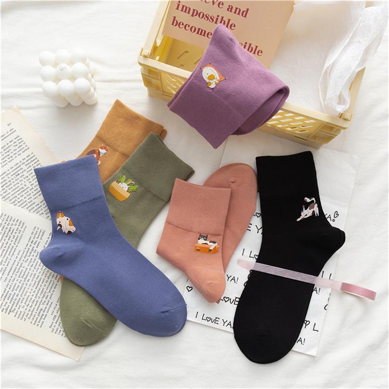 Japanese Style Cartoon Hot Stamping Cotton Socks for Women Girls New Design Casual Socks