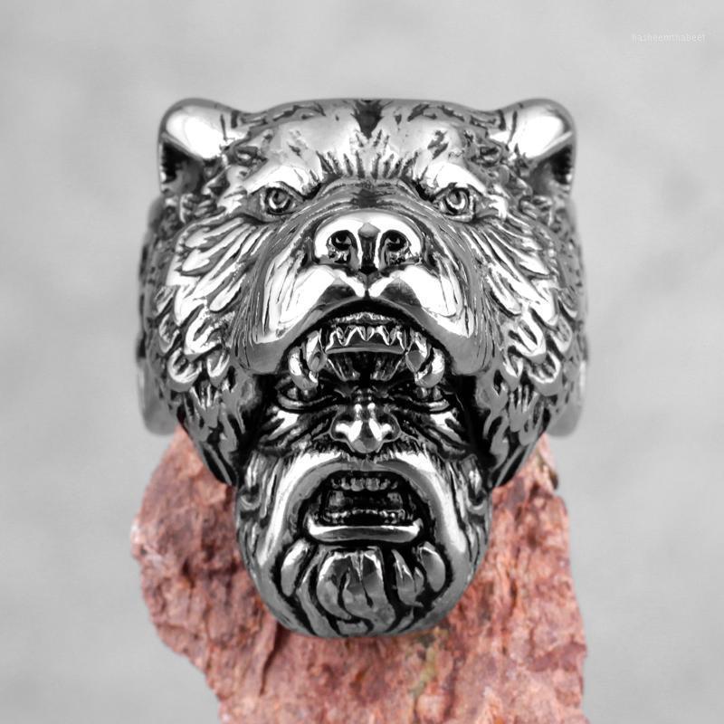 Nordic Viking Bear Warrior in acciaio inox acciaio inox anelli punk hip hop vintage per maschio fidanzato gioielli creatività regalo all'ingrosso1
