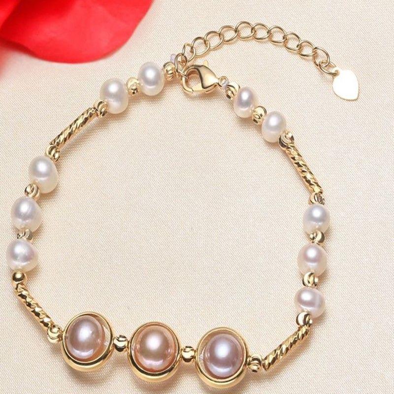 Высокое качество 14K Gold заполнено натуральные пресноводные жемчужные дамы браслет акция ювелирные изделия подруга подарок на день рождения розовый жемчужный браслеты
