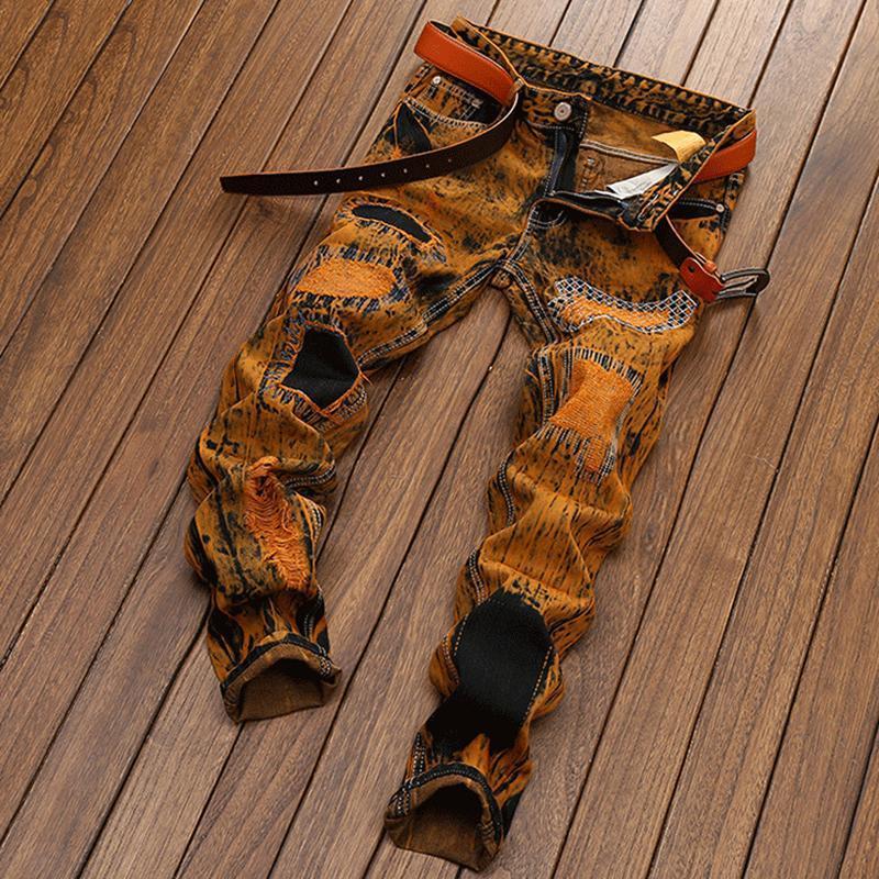 남성 청바지 남자 찢어진 성격 오래된 직선 데님 복고풍 유행 바지 긴 패션 브랜드 고품질 플러스 사이즈 dropship